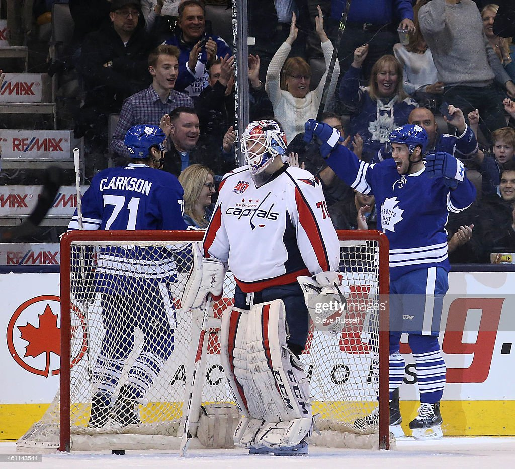 TORONTO ON JANUARY 7 Trevor Smith right celebrates his first goal of the season with David Clarkson as the Toronto Maple Leafs play the Washington...