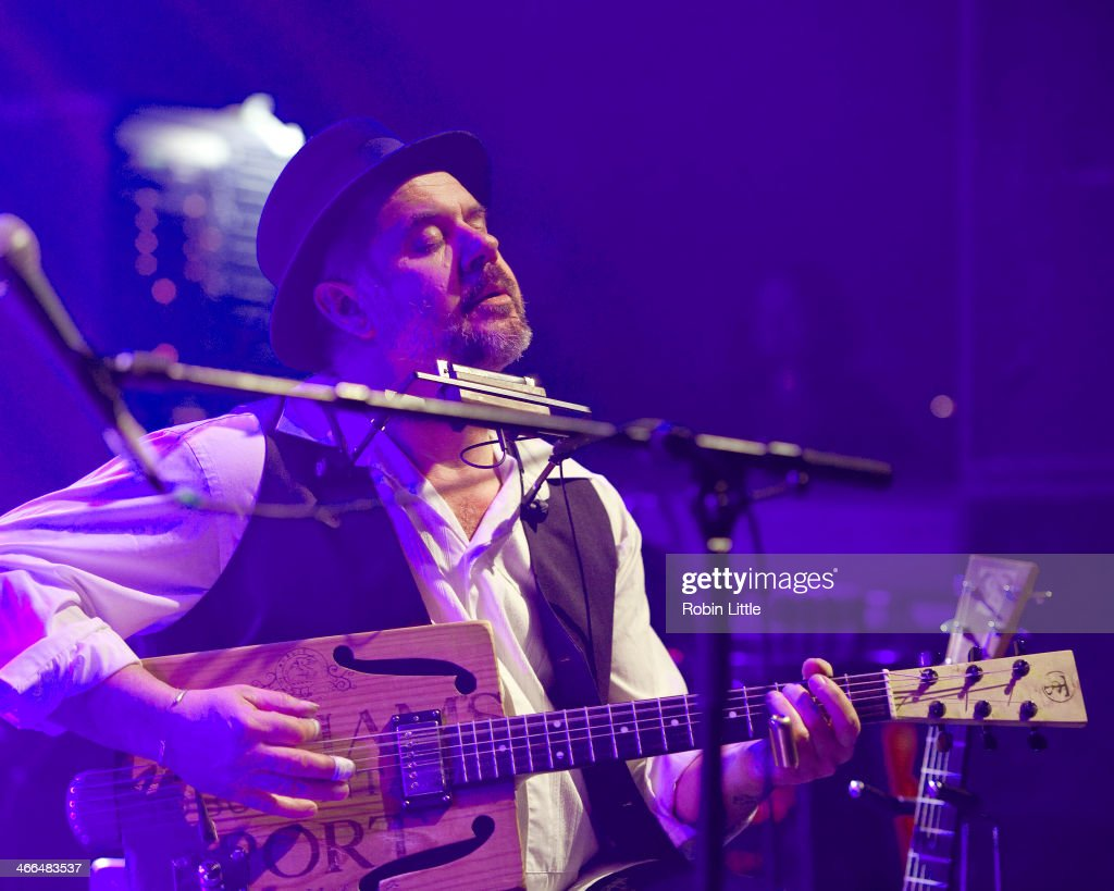 Trevor Steger of Babajack performs on stage at Shepherds Bush Empire on February 1, 2014 in London, United Kingdom.