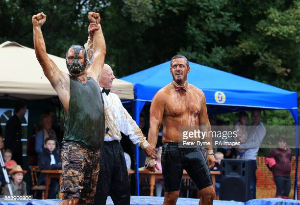 Trevor Sterling and Josh Taylor take part in the World Gravy Wrestling Championships at the Rose n Bowl Stackteads in Lancashire