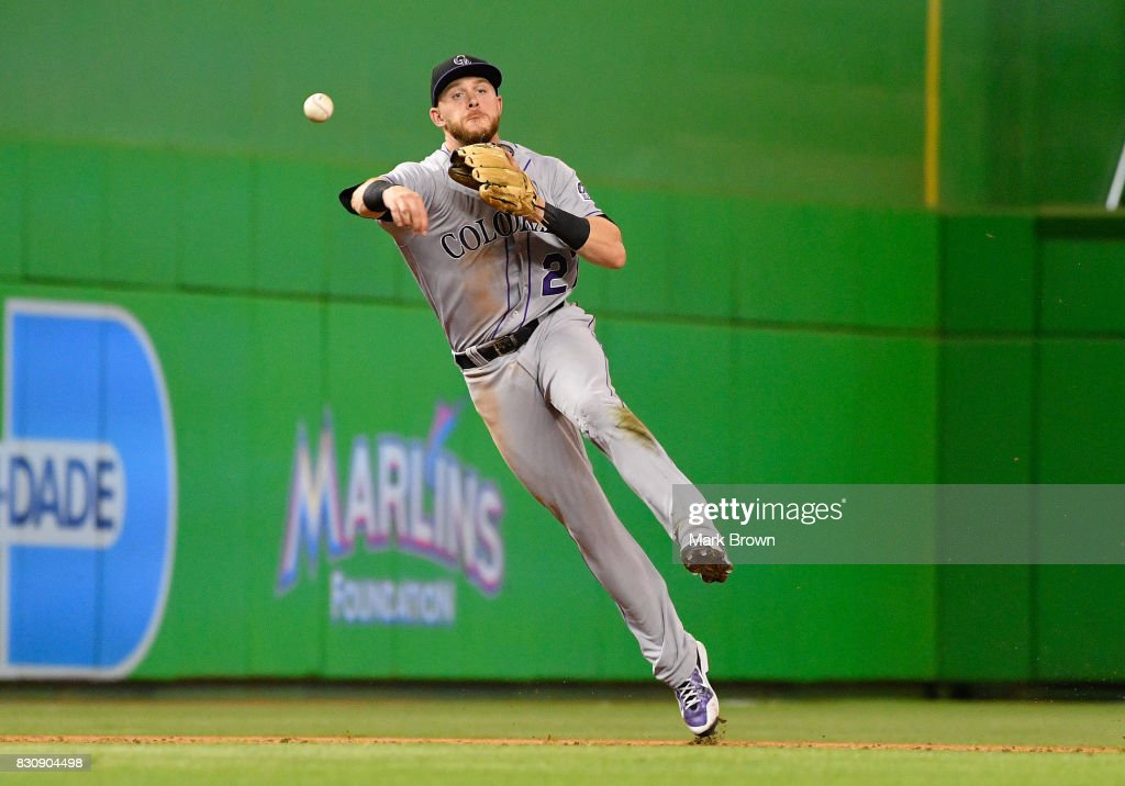 Trevor Story #27 of the Colorado Rockies during the game between the Miami Marlins and the Colorado Rockies at Marlins Park on August 12, 2017 in Miami, Florida.