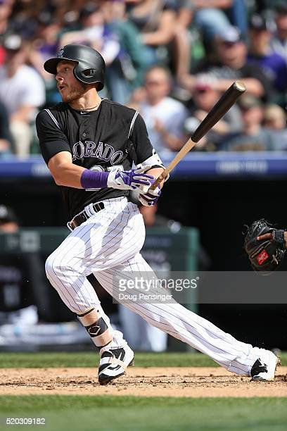 Trevor Story of the Colorado Rockies grounds out to pitcher James Shields of the San Diego Padres in the third inning on April 10 2016 in Denver...