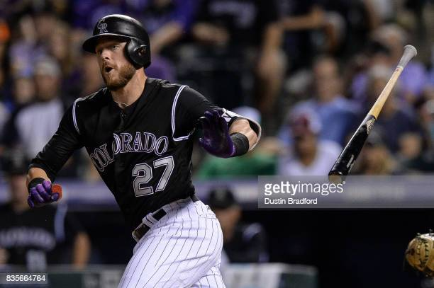 Trevor Story of the Colorado Rockies hits a leadoff double in the seventh inning of a game at Coors Field on August 19 2017 in Denver Colorado