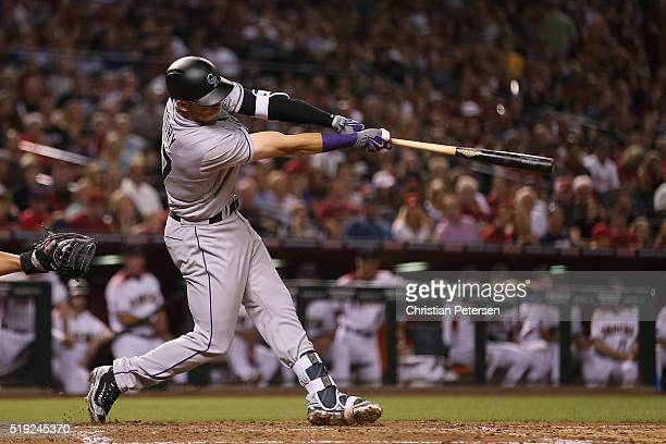 Trevor Story of the Colorado Rockies hits a threerun home run against the Arizona Diamondbacks hit during the third inning of the MLB opening day...