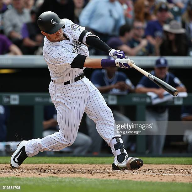 Trevor Story of the Colorado Rockies hits a two run home run off of Colin Rea of the San Diego Padres as the Padres held a 65 lead in the fourth...