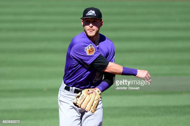 Trevor Story of the Colorado Rockies in action against the Arizona Diamondbacks during the spring training game at Salt River Fields at Talking Stick...