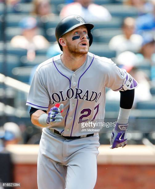 Trevor Story of the Colorado Rockies in action against the New York Mets on July 16 2017 at Citi Field in the Flushing neighborhood of the Queens...