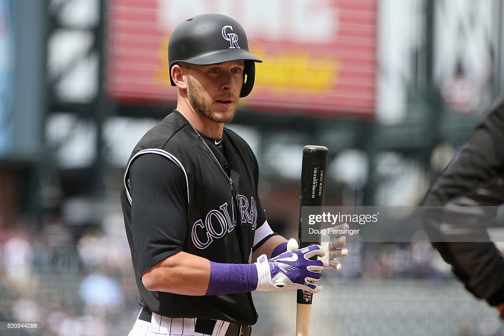 Trevor Story #27 of the Colorado Rockies prepares to take an at bat against the San Diego Padres on April 10, 2016 in Denver, Colorado. Story set a Major League record as he hit his seventh home run through the first six games of the season as the Rockies defeated the Padres 6-3.