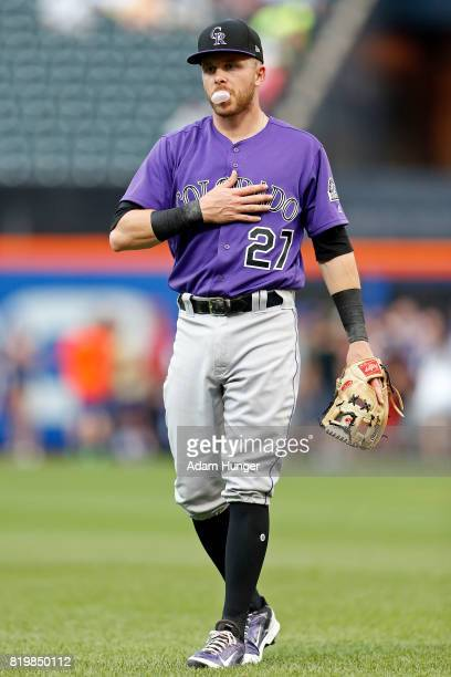 Trevor Story of the Colorado Rockies prior to taking on the Colorado Rockies at Citi Field on July 15 2017 in the Flushing neighborhood of the Queens...