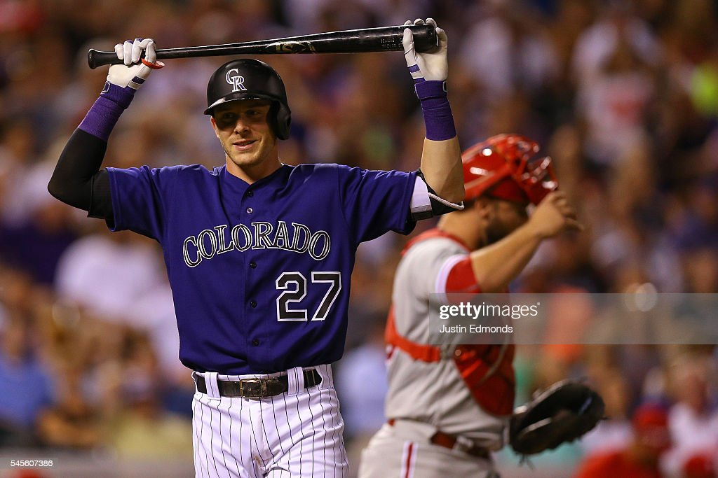Trevor Story #27 of the Colorado Rockies reacts after striking out looking to end the game against the Philadelphia Phillies at Coors Field on July 8, 2016 in Denver, Colorado. The Phillies defeated the Rockies 5-3.