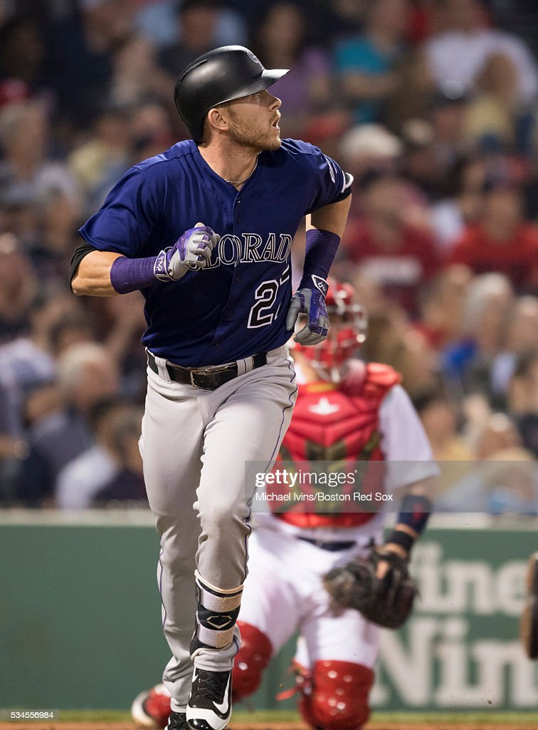 Trevor Story #27 of the Colorado Rockies rounds the bases after hitting a two-run home run against the Boston Red Sox in the fifth inning on May 26, 2016 at Fenway Park in Boston, Massachusetts.