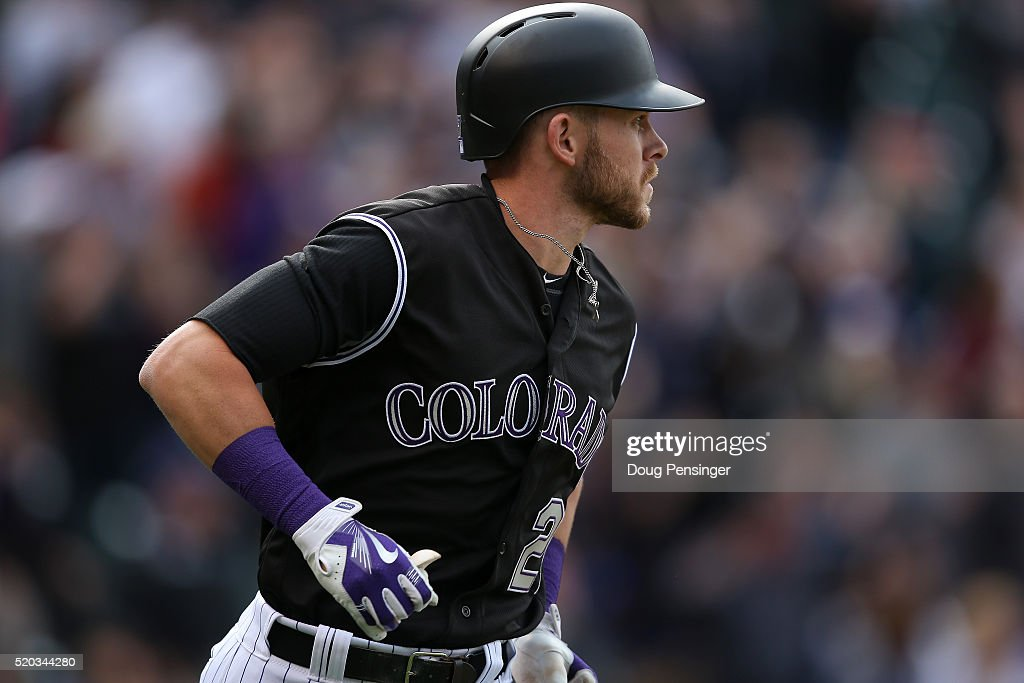 Trevor Story #27 of the Colorado Rockies rounds the bases on his solo home run off of Brandon Maurer #37 of the San Diego Padres to take a 5-3 lead in the eighth inning on April 10, 2016 in Denver, Colorado. Story set a Major League record as he hit his seventh home run through the first six games of the season as the Rockies defeated the Padres 6-3.