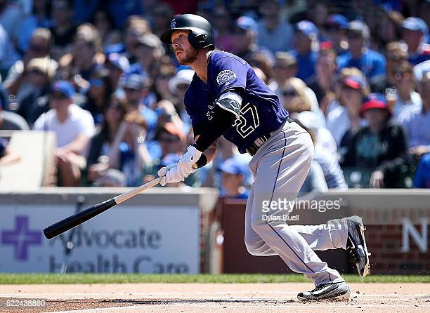 Trevor Story of the Colorado Rockies singles in the first inning against the Chicago Cubs at Wrigley Field on April 17 2016 in Chicago Illinois