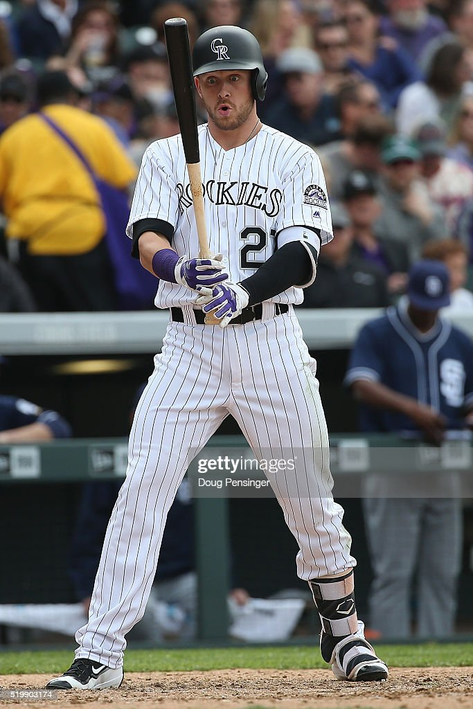 Trevor Story #27 of the Colorado Rockies takes an at bat against the San Diego Padres during opening day at Coors Field on April 8, 2016 in Denver, Colorado. The Padres defeated the Rockies 13-6.