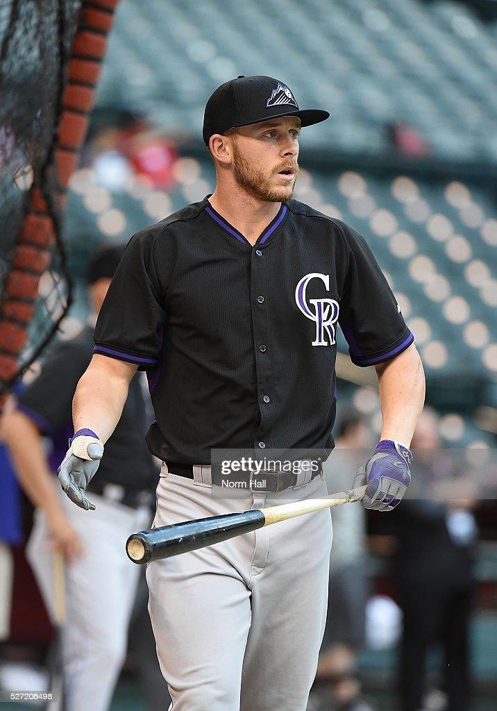 Trevor Story #27 of the Colorado Rockies takes batting practice prior to a game against the Arizona Diamondbacks on April 29, 2016 in Phoenix, Arizona.