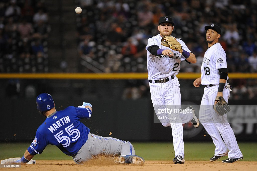 Trevor Story #27 of the Colorado Rockies turns a double play in the fifth inning against the Toronto Blue Jays at Coors Field on June 28, 2016 in Denver, Colorado. The Toronto Blue Jays defeat the Colorado Rockies 14-9.