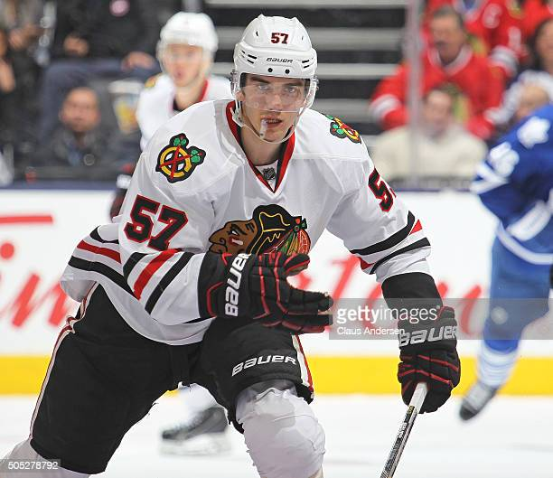 Trevor van Riemsdyk of the Chicago Black Hawks skates against the Toronto Maple Leafs during an NHL game at the Air Canada Centre on January 15 2016...