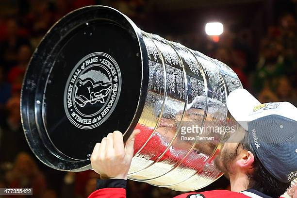 Trevor van Riemsdyk of the Chicago Blackhawks celebrates with the Stanley Cup after defeating the Tampa Bay Lightning by a score of 20 in Game Six to...