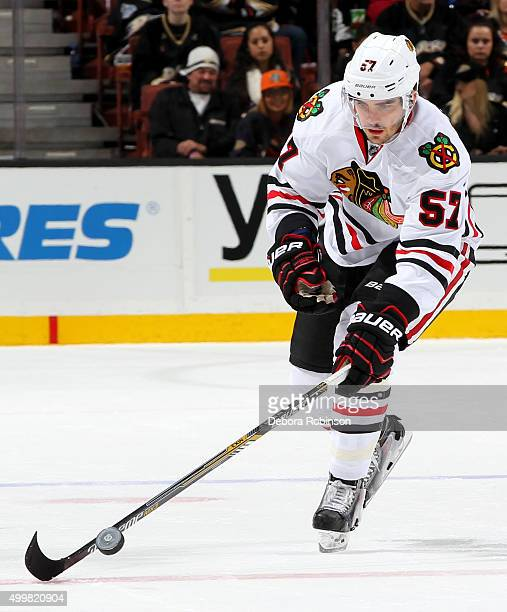 Trevor van Riemsdyk of the Chicago Blackhawks handles the puck during the game against the Anaheim Ducks on November 27 2015 at Honda Center in...