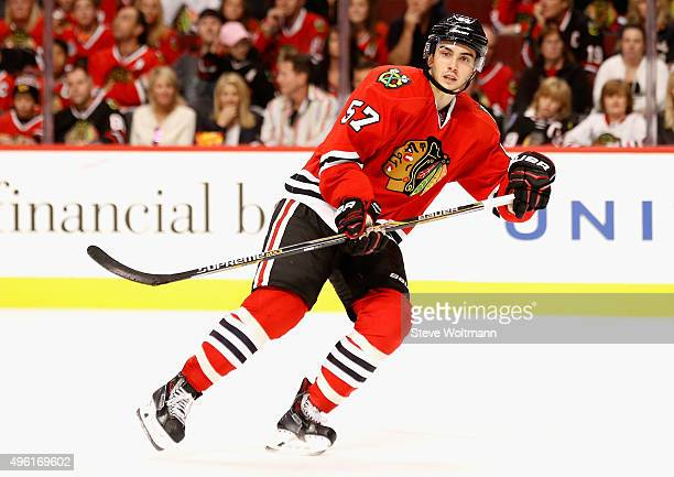 Trevor van Riemsdyk of the Chicago Blackhawks plays in the game against the New York Islanders at the United Center on October 10 2015 in Chicago...