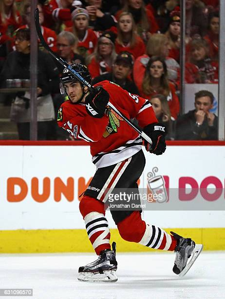 Trevor van Riemsdyk of the Chicago Blackhawks shoots against the Buffalo Sabres at the United Center on January 5 2017 in Chicago Illinois The...