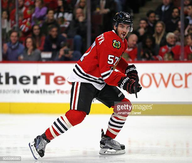 Trevor van Riemsdyk of the Chicago Blackhawks skates against the Nashville Predators at the United Center on January 12 2016 in Chicago Illinois The...