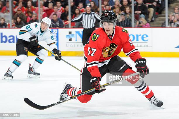 Trevor van Riemsdyk of the Chicago Blackhawks skates down the ice during the NHL game against the San Jose Sharks on November 09 2014 at the United...