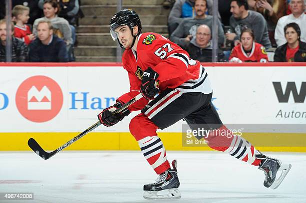 Trevor van Riemsdyk of the Chicago Blackhawks skates in the second period of the NHL game against the Anaheim Ducks at the United Center on October...