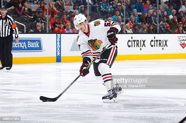 Trevor van Riemsdyk of the Chicago Blackhawks skates with control of the puck against the San Jose Sharks at SAP Center on November 25 2015 in San...