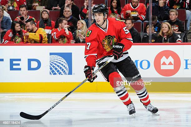 Trevor van Riemsdyk of the Chicago Blackhawks watches for the puck during the second period of the NHL game against the New York Islanders at the...