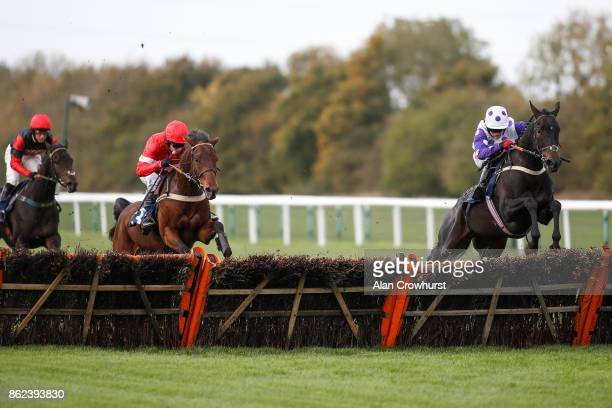 Trevor Whelan riding Canyon City clear the last to win The 32Red Casino Novices' Hurdle Race from Desiremoi D'Authie at Huntingdon racecourse on...