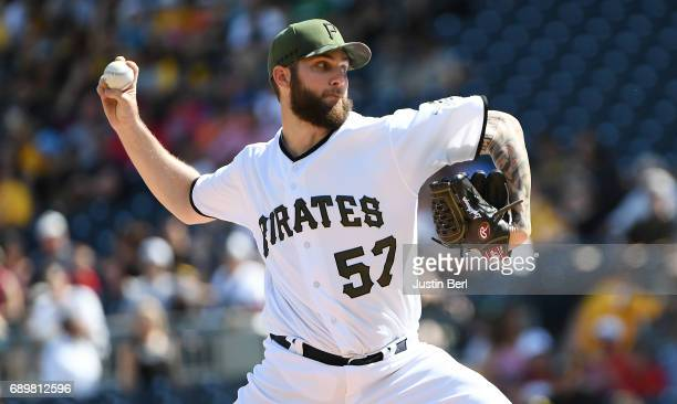 Trevor Williams of the Pittsburgh Pirates delivers a pitch in the first inning during the game against the Arizona Diamondbacks at PNC Park on May 29...