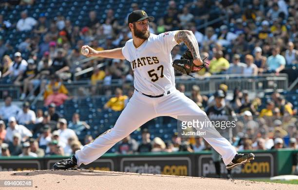 Trevor Williams of the Pittsburgh Pirates delivers a pitch in the first inning during the game against the Miami Marlins at PNC Park on June 10 2017...