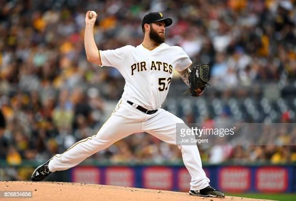 Trevor Williams of the Pittsburgh Pirates in action during the game against the Cincinnati Reds at PNC Park on August 2 2017 in Pittsburgh...