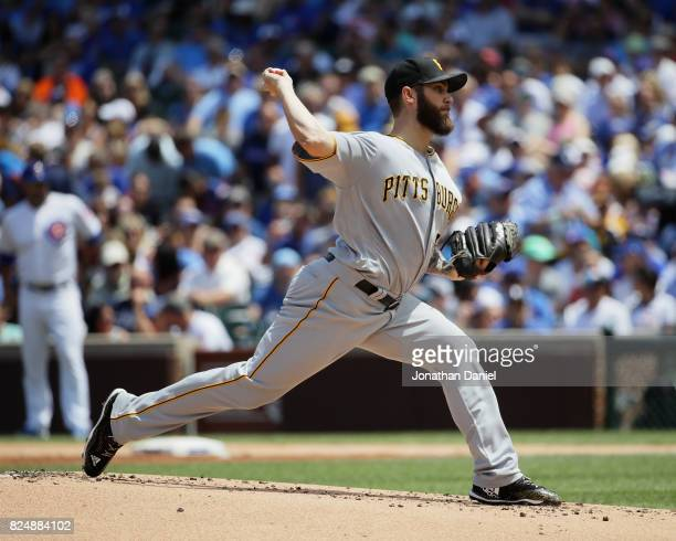 Trevor Williams of the Pittsburgh Pirates pitches against the Chicago Cubs at Wrigley Field on July 7 2017 in Chicago Illinois The Cubs defeated the...