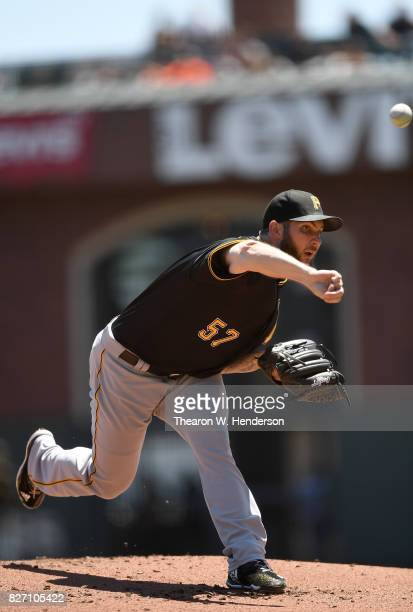 Trevor Williams of the Pittsburgh Pirates pitches against the San Francisco Giants in the bottom of the first inning at ATT Park on July 26 2017 in...