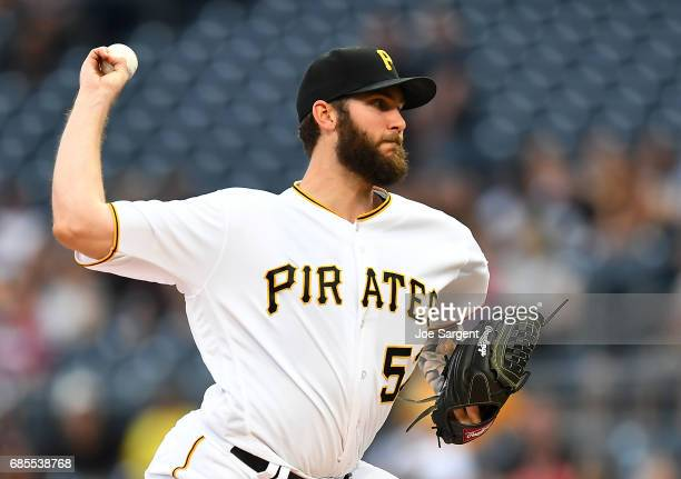 Trevor Williams of the Pittsburgh Pirates pitches during the first inning against the Philadelphia Phillies at PNC Park on May 19 2017 in Pittsburgh...