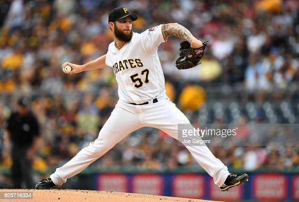 Trevor Williams of the Pittsburgh Pirates pitches during the first inning against the Cincinnati Reds at PNC Park on August 2 2017 in Pittsburgh...