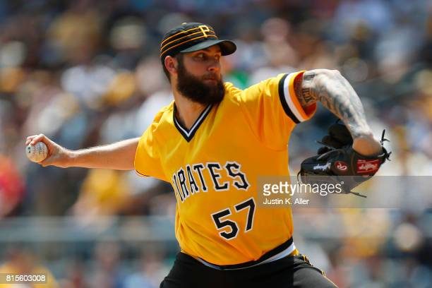 Trevor Williams of the Pittsburgh Pirates pitches in the first inning against the St Louis Cardinals at PNC Park on July 16 2017 in Pittsburgh...