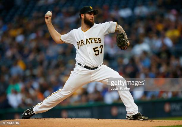 Trevor Williams of the Pittsburgh Pirates pitches in the first inning against the Detroit Tigers during interleague play at PNC Park on August 7 2017...