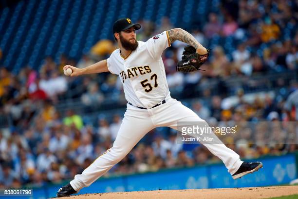 Trevor Williams of the Pittsburgh Pirates pitches in the first inning against the Los Angeles Dodgers at PNC Park on August 23 2017 in Pittsburgh...