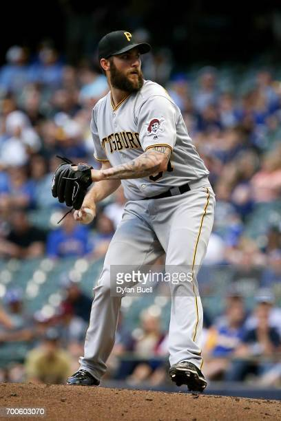 Trevor Williams of the Pittsburgh Pirates pitches in the second inning against the Milwaukee Brewers at Miller Park on June 21 2017 in Milwaukee...