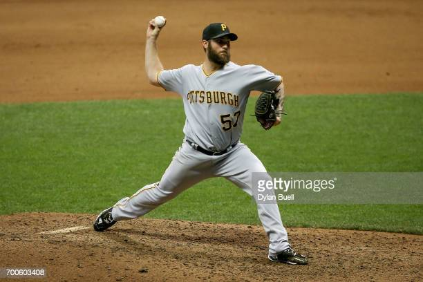 Trevor Williams of the Pittsburgh Pirates pitches in the sixth inning against the Milwaukee Brewers at Miller Park on June 21 2017 in Milwaukee...