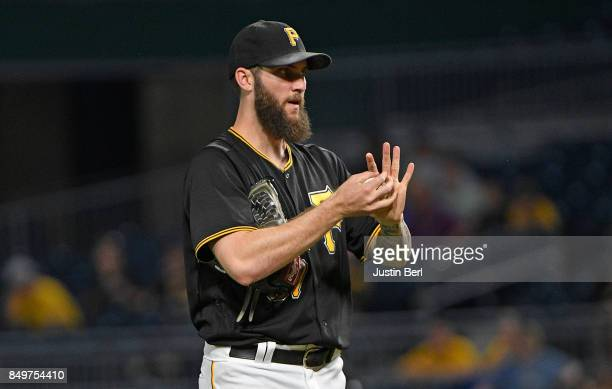 Trevor Williams of the Pittsburgh Pirates reacts after giving up a single to Orlando Arcia of the Milwaukee Brewers in the second inning during the...