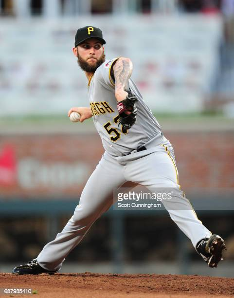Trevor Williams of the Pittsburgh Pirates throws a first inning pitch against the Atlanta Braves at SunTrust Park on May 24 2017 in Atlanta Georgia