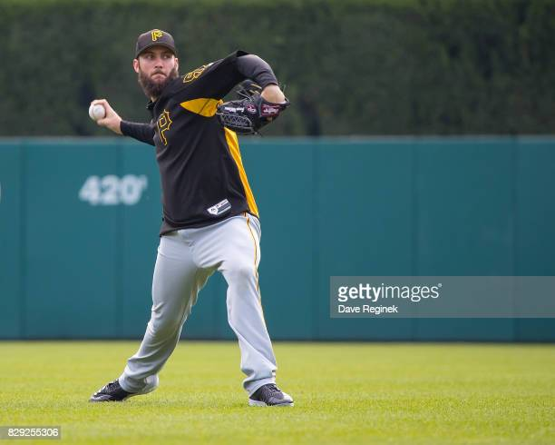 Trevor Williams of the Pittsburgh Pirates warms up before a MLB game against the Detroit Tigers at Comerica Park on August 10 2017 in Detroit Michigan