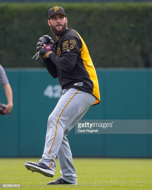 Trevor Williams of the Pittsburgh Pirates warms up before a MLB game against the Detroit Tigers at Comerica Park on August 10 2017 in Detroit...