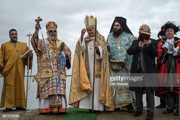 Trevor Willmot Bishop of Dover Bishop Athanasios and parishioners and clergy of the Greek Orthodox Church of St Michael the Archangel process to...