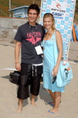 Trevor Wright and Amy Smart during The Rip Curl Malibu Pro Hosts 'Celebrity Surf 'Bout' Arrivals at Malibu Surfrider Beach in Malibu California...