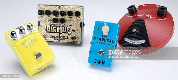 TRex Tonebug Fuzz ElectroHarmonix Germanium 4 Big Muff PI DAM Meathead M13 and Dunlop JDF2 Fuzz Face electric guitar fuzz effects pedals Photographed...