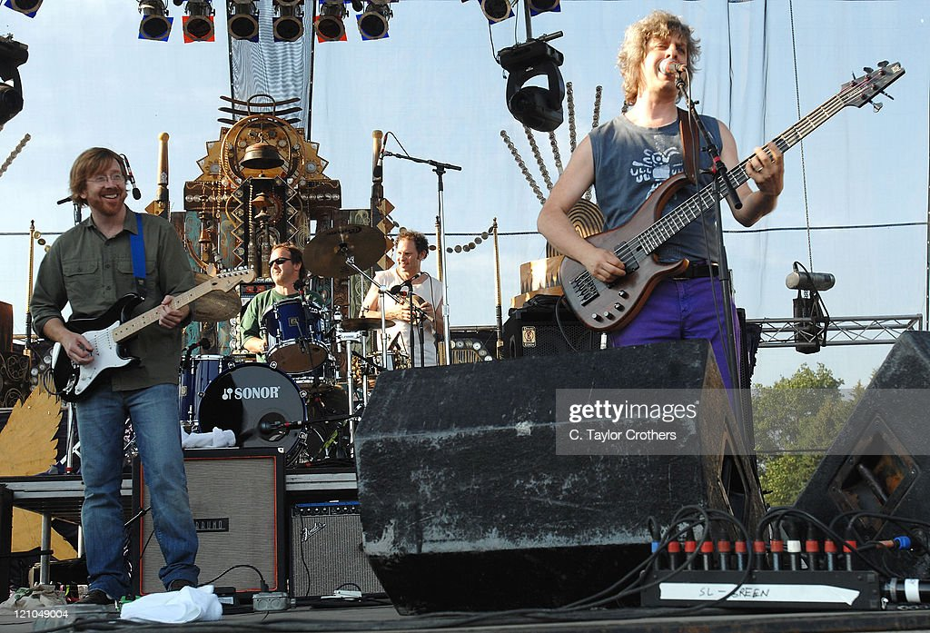 Trey Anastasio and Jon Fishman perform with Mike Gordon at Sherwood Court during Rothbury 2008 on July 6, 2008 in Rothbury, Michigan.